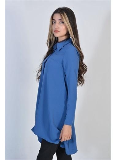 Zeren Kadın Mavi Salaş Kesim Tunik Mavi